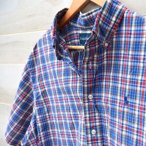 Ralph Lauren Blue Plaid Button Short Sleeve XL